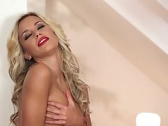 Blonde Lola Myluv Touches Her Dribbling Moist Beaver After Posing Naked