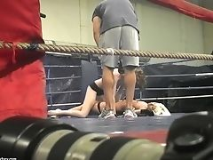 Backstage Of Sans Bra Grappling Featuring Leyla Peachbloom And Sandra Seashell