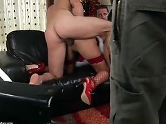 Angelica Heart Does Buttfuck With Two Guys On Christmas