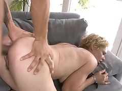 Blonde Oriental Kelly Leigh Shows Off Her Hot Bod As She Gets Her Mouth Banged