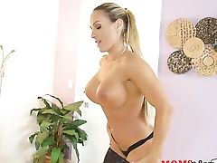 Blonde Tegan James With Massive Bra-stuffers And Shaven Twat Spends Her Sexual Energy Alone Using Massager
