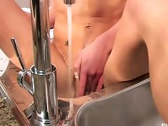 This Sexy Orgasm Longing Dark-haired Is Addicted To Her Kitchen Faucet