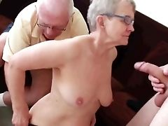 Granny & Hubby Invite A Youthfull Stud To Fuck Her