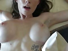 Brown-haired With Big Melons And Hairless Twat Spends Her Sexual Energy Alone With The Help Of Plaything