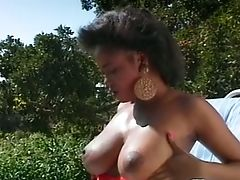 Insatiable Black Gal By The Pool Gargling Milky Dick