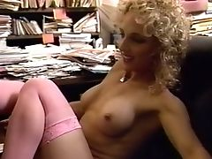 Blonde Curly Haired Old School Mummy Pleasured Orally In The Office