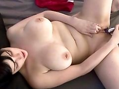 Busty Brunette Coed Vivian Lavey Is Playing With A Dildo